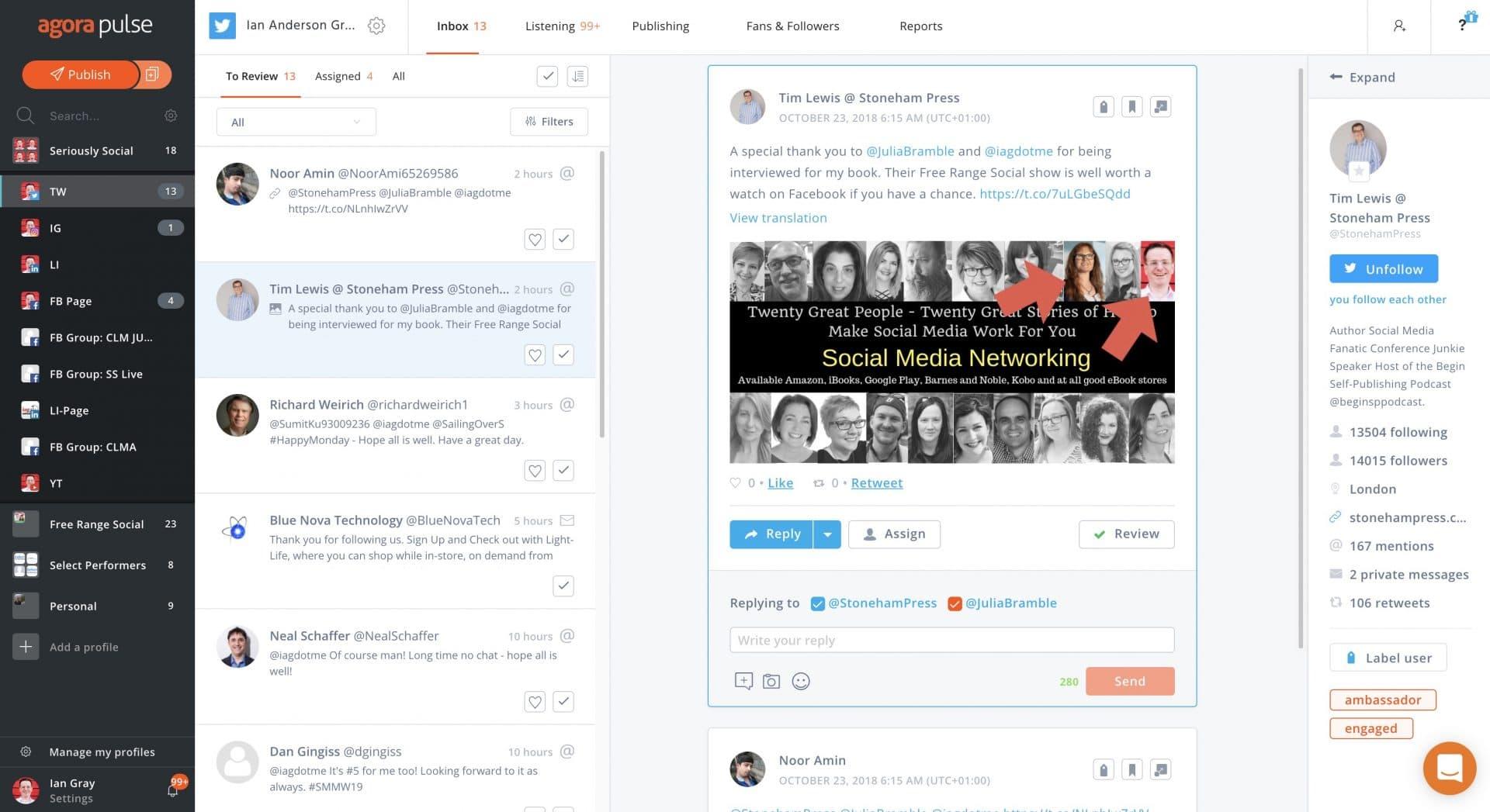 Agorapulse's Per-network Inbox View