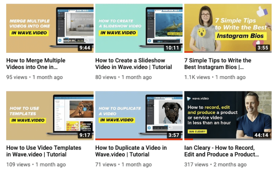 Examples of video thumbnails from the Wave.video YouTube channel