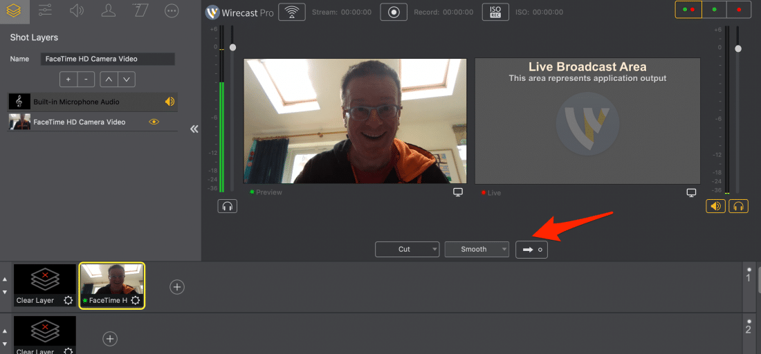 Preview and Live Views in Wirecast