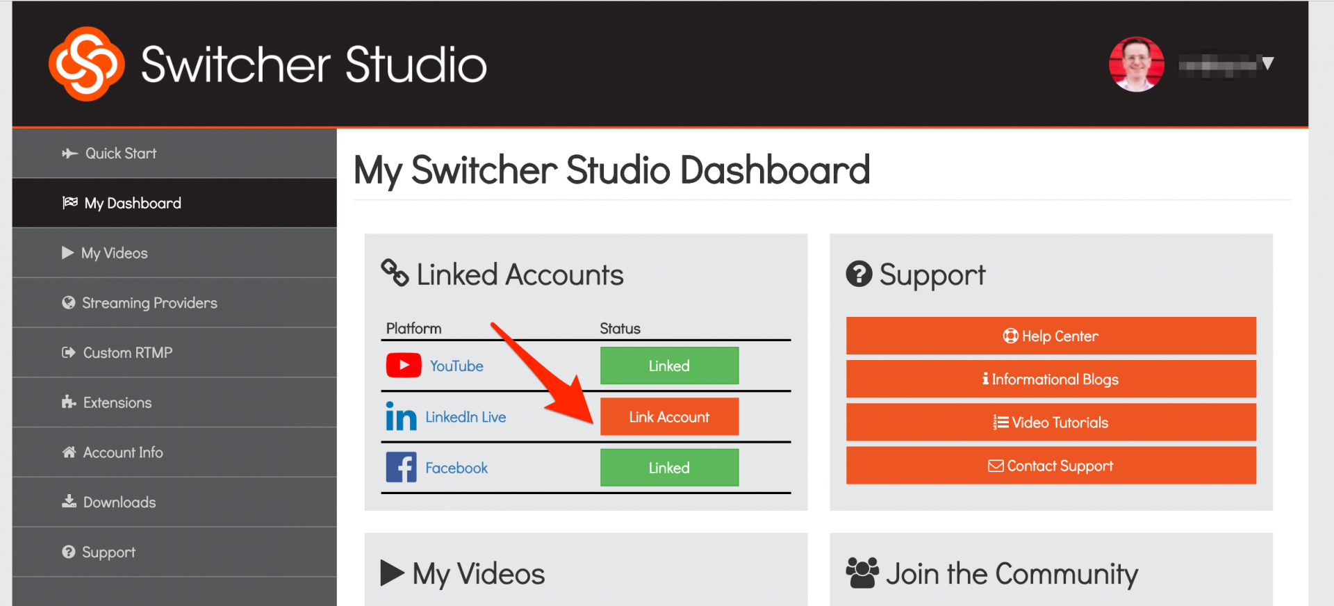 Adding LinkedIn Live in the SwitcherStudio Dashboard