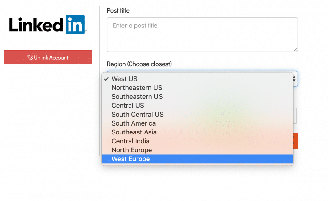 Select LinkedIn Live Region in SwitcherStudio