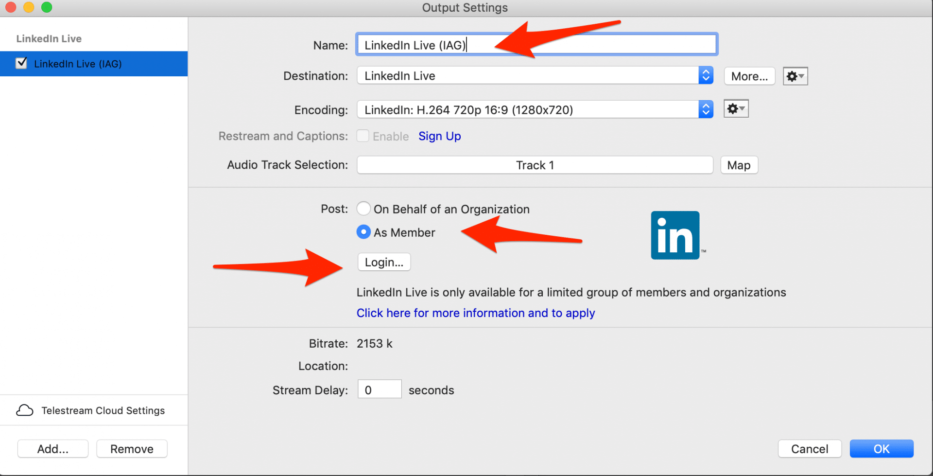 LinkedIn Live Settings in Wirecast