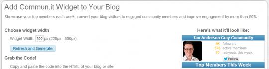 communit widget options
