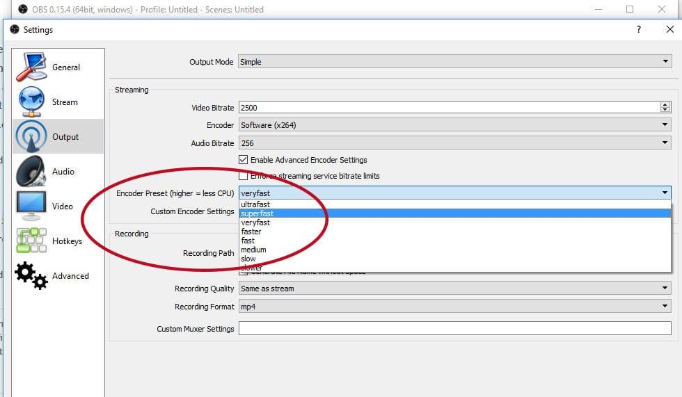 Encoding Speed in OBS Studio