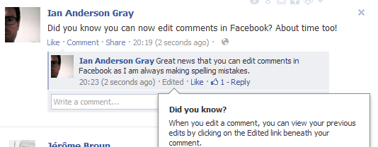 Edit a FB comment