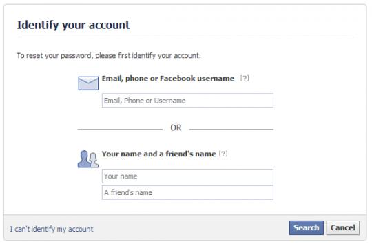 facebook forgot password