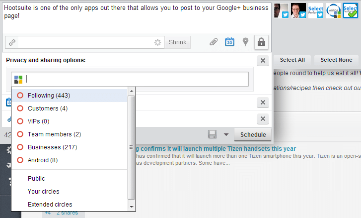 google plus page management in Hootsuite
