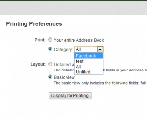 Facebook printing preferences