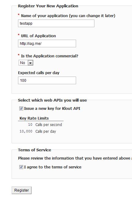 Klout Developers Form Screenshot 2