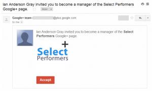 Google+ Transfer Email
