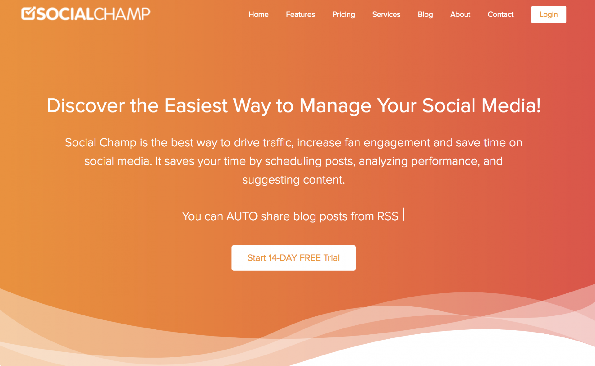 The SocialChamp Home page
