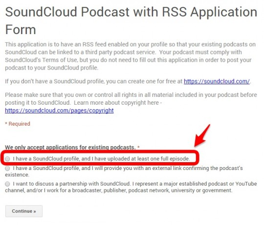 Apply for SoundCloud Podcasting Beta