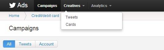 Twitter Ads Nav bar